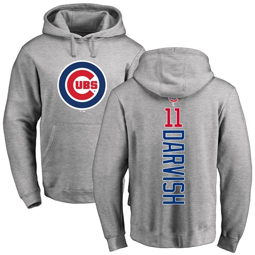 MLB Nike Chicago Cubs #11 Yu Darvish Ash Backer Pullover Hoodie