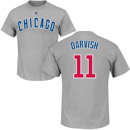 MLB Nike Chicago Cubs #11 Yu Darvish Gray Name & Number T-Shirt
