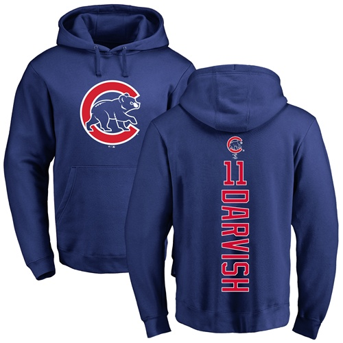 MLB Nike Chicago Cubs #11 Yu Darvish Royal Blue Backer Pullover Hoodie