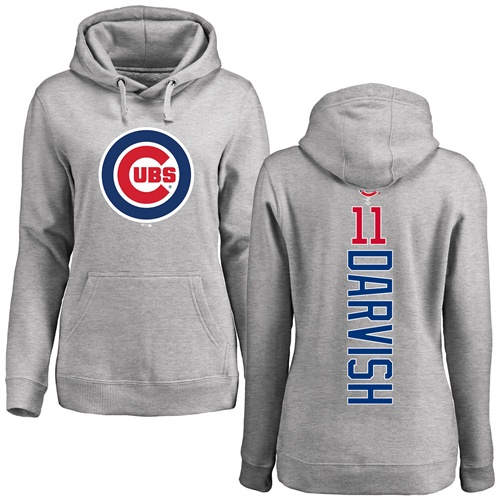 MLB Women's Nike Chicago Cubs #11 Yu Darvish Ash Backer Pullover Hoodie