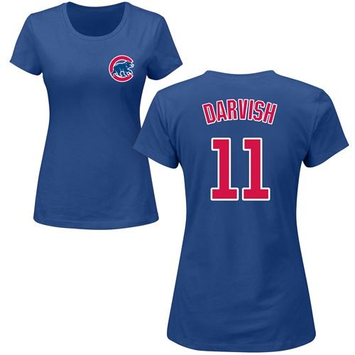 MLB Women's Nike Chicago Cubs #11 Yu Darvish Royal Blue Name & Number T-Shirt