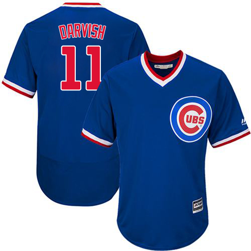 Men's Majestic Chicago Cubs #11 Yu Darvish Royal Blue Cooperstown Flexbase Authentic Collection MLB Jersey