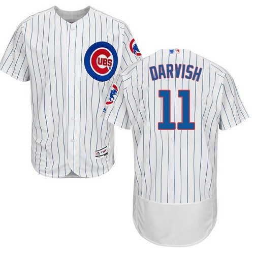 Men's Majestic Chicago Cubs #11 Yu Darvish White Home Flex Base Authentic Collection MLB Jersey