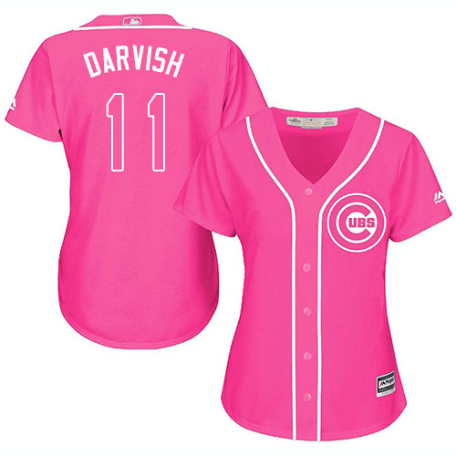 Women's Majestic Chicago Cubs #11 Yu Darvish Authentic Pink Fashion MLB Jersey