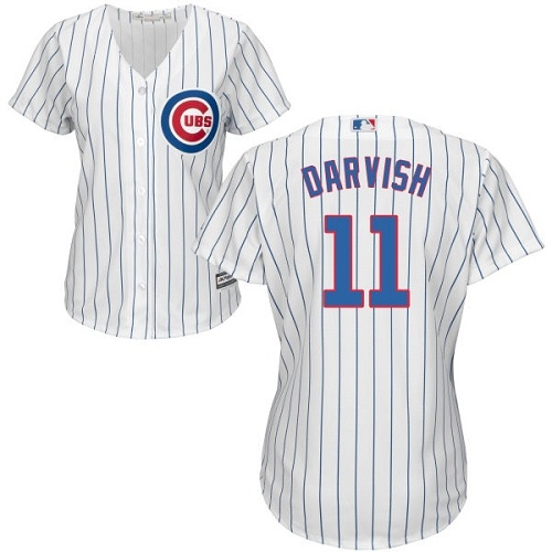 Women's Majestic Chicago Cubs #11 Yu Darvish Authentic White Home Cool Base MLB Jersey