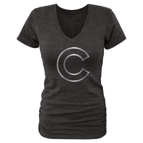 MLB Chicago Cubs Fanatics Apparel Women's Platinum Collection V-Neck Tri-Blend T-Shirt - Grey