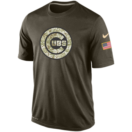 MLB Chicago Cubs Nike Dri-Fit Olive Salute To Service KO Performance T-Shirt