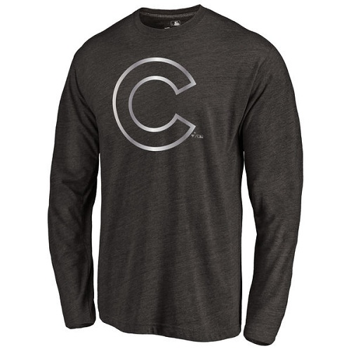 MLB Chicago Cubs Platinum Collection Long Sleeve Tri-Blend T-Shirt - Grey