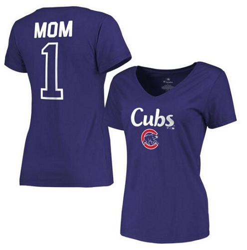 MLB Chicago Cubs Women's 2017 Mother's Day #1 Mom V-Neck T-Shirt - Royal