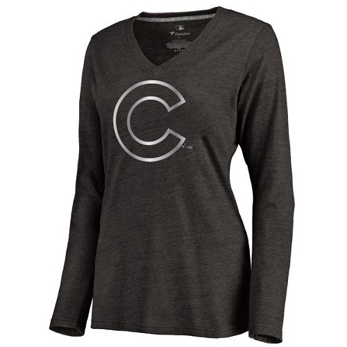 MLB Chicago Cubs Women's Platinum Collection Long Sleeve V-Neck Tri-Blend T-Shirt - Grey