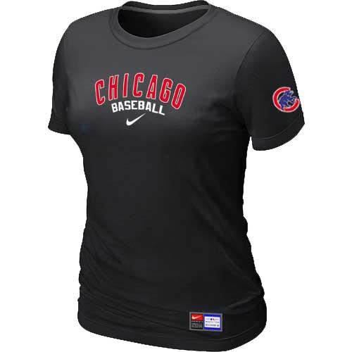 MLB Women's Chicago Cubs Nike Practice T-Shirt - Black