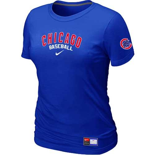 MLB Women's Chicago Cubs Nike Practice T-Shirt - Blue