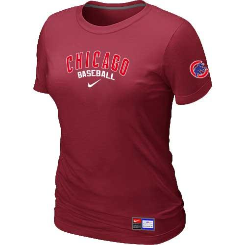MLB Women's Chicago Cubs Nike Practice T-Shirt - Red